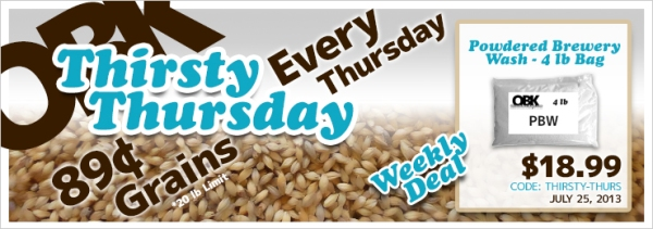 Thirsty Thursday Weekly Deals at OBK Home Brew Supplies
