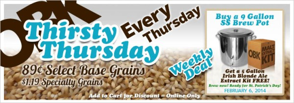 OBK Thirsty Thursday Weekly Deal